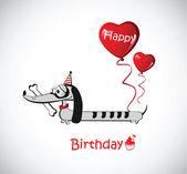 Zadowolony urodziny karty pies jamnik — Wektor stockowy
