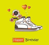 Fiori di carta di buon compleanno in scarpe da ginnastica — Vettoriale Stock