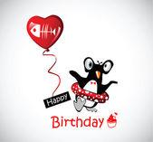 Happy Birthday Card funny penguins — Stock Vector