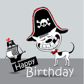 Happy Birthday Card pirate dog funny — Stock Vector