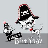 Všechno nejlepší k narozeninám karta pirát pes legrační — Stock vektor