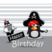 Happy Birthday Card pirate penguin funny — Stock Vector