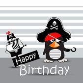 Happy Birthday Card pirate penguin funny — Stock Vector