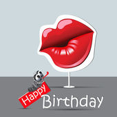 Happy birthday funny card eyes and smile kiss — Stock Vector