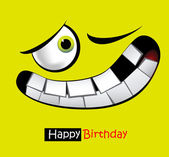 Happy birthday funny card smile and eyes — Stock Vector