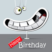Happy birthday funny card smile gray — Stock Vector