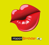 Happy birthday funny card smile kiss — Stok Vektör