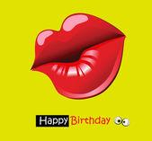 Tarjeta del feliz cumpleaños divertida sonrisa beso — Vector de stock