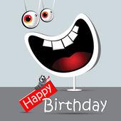 Happy birthday funny card smile white — Stock Vector