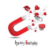 Joyeux anniversaire! cadeaux et salutations — Vecteur