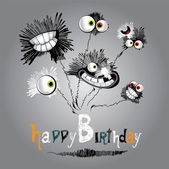 Happy Birthday bouquet of flowers — Vector de stock