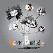 幸せな誕生日の花の花束 — ストックベクタ