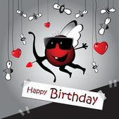 Cupido tarjeta divertida feliz cumpleaños — Vector de stock