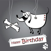 Happy birthday funny card dog on the ropes — Stock Vector