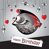 Happy birthday funny fish — Stock Vector