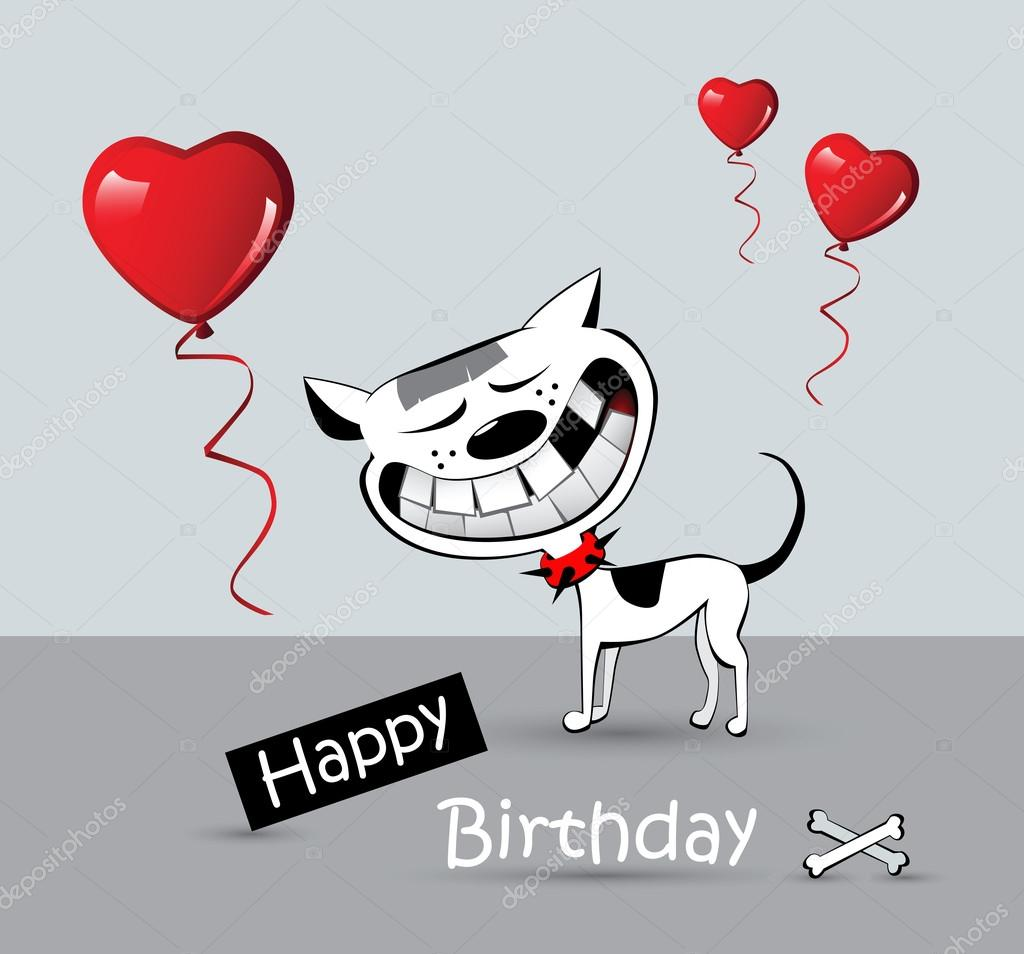 Happy Dogs Smiling Happy Birthday Card Cat Dog