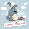 Merry Christmas rabbit thick - Stock Vector