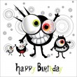 Happy Birthday cheerful monster — Stock Vector