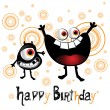 Happy Birthday cheerful monster smiles — Vector de stock #16369067