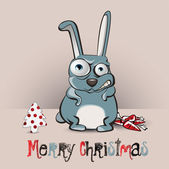 Merry Christmas rabbit smile — Vettoriale Stock
