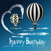 Happy Birthday balloons in the sky — Stock Vector