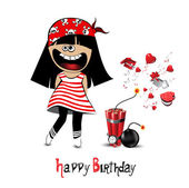 Happy Birthday Card a child pirate — Stock Vector