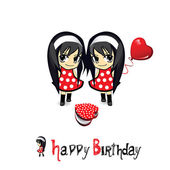 Happy Birthday Girls and Gifts — Stock Vector