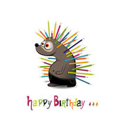 Happy Birthday Hedgehog with pencils — Vector de stock