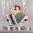 Stock Vector: Merry Christmas Penguin playing accordion