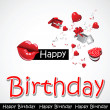 Happy birthday kiss card greeting gift - Stok Vektör