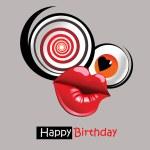 Happy birthday kiss postcard — Stock Vector