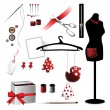 Sewing accessories elements — Stock Vector
