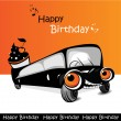 Happy Birthday car joyfully — Stock Vector