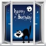 Happy Birthday Cat on the window — Stock Vector #36899373
