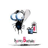 Happy Birthday smile fly — Stock Vector