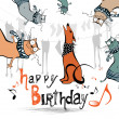 Happy birthday funny kids cat dog — Stock Vector