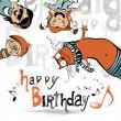 Happy birthday funny kids cat — Stock Vector