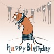 Happy birthday funny card animal cat — Stock Vector