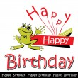 Happy birthday card frog — Stock Vector