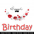 Happy birthday card love — Stock Vector