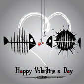 Happy valentine's day card with funny fish — Stock Vector