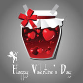 Happy valentine's day card with a funny jam — Stock Vector