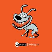Happy Birthday orange smile DOG — Stock Vector