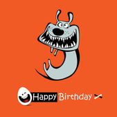 Happy Birthday orange color smile DOG — Stock Vector