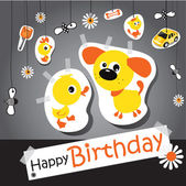 Happy birthday funny card animal — Stock Vector