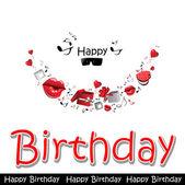 Happy birthday card love — Stock Vector