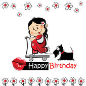 Happy birthday card fashion dog — Stock Vector