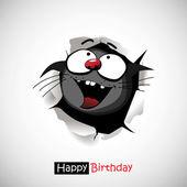 Happy Birthday cat smile  funny greetings — Stock Vector