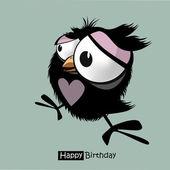 Happy Birthday funny little bird — Stock Vector