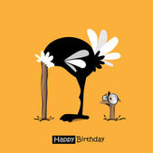 Happy Birthday smile birds funny ostrich — Stock Vector